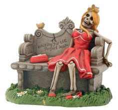 Waiting for Perfect Man Skeleton with Red Dress Display Figurine * Want to know more, click on the image.