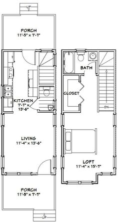 12x28 Tiny House -- #12X28H4 -- 605 sq ft - Excellent Floor Plans