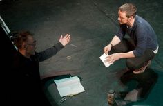 Danny Boyle and James McAvoy at the royal court theatre for the children's monologues for the charity dramatic need.