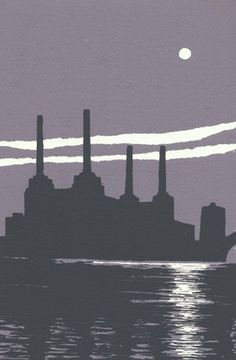 ARTFINDER: Battersea Power Station by Ian Scott Massie - My father worked in three power stations in all around London but never in this one. Its such a beautiful big building with a classic air about it. Lino Art, Battersea Power Station, Big Building, Art Deco Stil, A Level Art, Industrial Revolution, Linocut Prints, Map Art, Coups