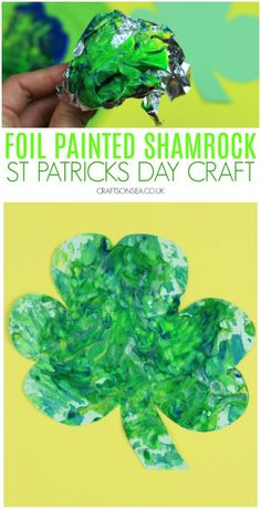Easy Shamrock Craft for Kids This foil painted shamrock craft is a super easy and super fun St Patricks Day activity for kids that uses supplies from your kitchen to make an easy sensory activity or messy play painting activity. Saint Patricks Day Art, St. Patricks Day, St Patricks Day Crafts For Kids, Toddler Art, Toddler Crafts, Preschool Crafts, Kids Crafts, Easy Crafts, Science Crafts