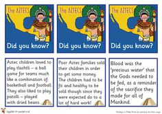 Aztec cards from Teachers Pet - Free! 7th Grade Social Studies, History For Kids, Teachers Pet, Primary Classroom, Classroom Displays, Child Love, Ancient Civilizations, Learning Activities