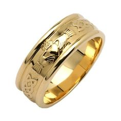 "Mens Wide Round Claddagh Wedding Ring: Available in silver, white or yellow gold with matching wide or narrow band. A lovely combination of the beautiful Claddagh surrounded by the Celtic weave, a symbol of never ending love! A wonderfully special way to say ""I do!"" Price : $1,379.95 http://www.biddymurphy.com/Claddagh-Wedding-Ring-14k-Yellow-Gold-Irish/dp/B009E5QYGG"