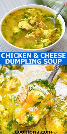 Hearty Chicken Soup, Chicken Dumpling Soup, Dumplings For Soup, Healthy Soup Recipes, Vegetarian Recipes, Cooking Recipes, Spinach Tortellini Soup, Homemade Soup, Soup And Salad