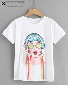 SheIn offers Figure Print Letter Tape Detail Tshirt & more to fit your fashionable needs. Fabric Paint Shirt, Discount Womens Clothing, White T, Look Chic, Printed Tees, Kids Fashion, Fashion Art, Shirt Designs, T Shirts For Women