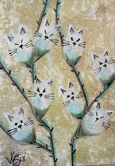 """Aceo Original """"FUZZY WHITE PUSSY WILLOWS 2 """" pencil/ink ON EBAY"""