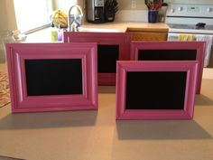 Dollar Store frames spray painted, paint the glass with chalkboard spray paint and you have cute & cheap chalkboard frames!!!