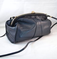 Vintage 80s Debenhams Classics Black Leather Shoulder Bag Little Black Purse  Crossbody Womens Birthday or Anniversary Gifts 4fcdd3b8ca895
