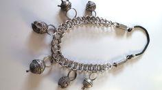 Vintage Moroccan tribal ethnic Berber Tuareg silver hairring pendants Fibula chain necklace. door tribalgallery op Etsy