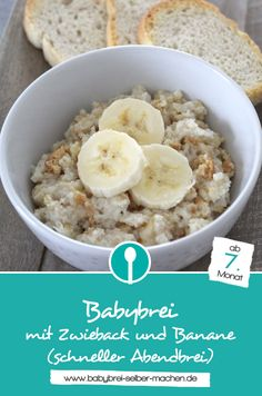Rezept für Abendbrei (Getreide-Milchbrei) mit Zwieback und Banane. Das Rezept ist sehr schnell gemacht und eignet sich auch für die Zubereitung unterwegs. Geeignet für Babys ab dem 7. Monat.