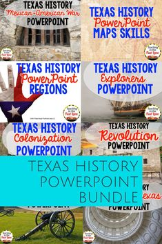 This bundle of PowerPoints consists of sixteen presentations meant to cover the information of Texas History according to the 4th grade standards. Each of the PowerPoints is available individually, but you can save 20% by purchasing in this bundle. These 4th grade Texas History PowerPoints will provide the information necessary for a whole year of Texas History! #TeachingInTheFastLane #TexasHistory Middle School Literacy, Middle School History, High School, 4th Grade Social Studies, Teaching Social Studies, Seventh Grade, Ninth Grade, Fourth Grade, Texas History 7th