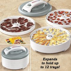 Food Dehydrator    Dry food in hours—not days! This all-in-one dehydratordelivers 500 watts of power to quickly and evenly dry all sorts of fruits, veggies, herbs, fish, venison and beef jerky. No more having to worry about rotating trays or flavors mixing! The top-mounted fan prevents liquids from falling into the heating chamber. Thermostat is adjustable from 95-155ºF. Comes with 4 trays, but is expandable to 12 the drying pressure automatically adjusts.  US  $69.99