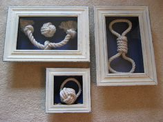 Nautical Knots Shadow Boxes using dollar tree dog toys