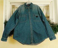 Mens Dark Denim Shirt L Factory Distressed Faded Bugle Boy Jeans #BugleBoyJeans #ButtonFront