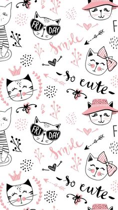 new ideas for cats wallpaper pattern pink - Cats ++ - Cat Wallpaper Cartoon Wallpaper, Cats Wallpaper, Kawaii Wallpaper, Wallpaper Iphone Cute, Animal Wallpaper, Tumblr Wallpaper, Pink Wallpaper, Lock Screen Wallpaper, Pattern Wallpaper