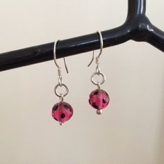 Sterling Silver Earrings with Glass Beads - ONE OF A KIND