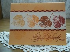 Fall Card Stampin up Fall Cards, Winter Cards, Holiday Cards, Making Greeting Cards, Greeting Cards Handmade, Stampin Up Karten, Leaf Cards, Stamping Up Cards, Marianne Design