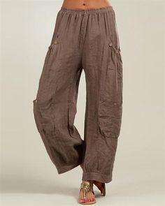 100% Lin Pocketed Palazzo Pants Made In Italy