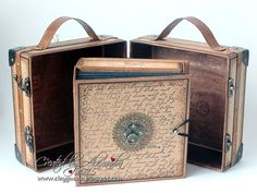 """I'm excited to share another mini album I created using gorgeous Graphic 45 papers """"Craft Reflections"""". Mini Albums Scrap, Mini Scrapbook Albums, Scrapbook Journal, Best Luggage, Kids Luggage, Luggage Sets, Travel Luggage, Tutorial Scrapbook, Vintage Suitcases"""