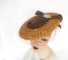 Vintage 1940s tilt hat, straw with brown crown and back cap. by TheVintageHatShop on Etsy