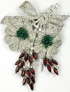 KTF Trifari 'Alfred Philippe' Pave Emerald Cabochons and Ruby Navettes Double Floral Spray with Bow Pin Clip
