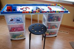 DIY Lego Table - 3 storage rolling storage bins a 4' table top and stools.  Do not organize legos by color as shown, it's too hard for the kids.  Keep each set together in ziplock bags.
