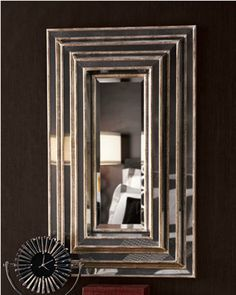 "Chic Large 40"" Wall Mirror Antiqued Gold Silver Frame XL Horchow"