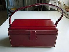 VINTAGE LADIES RED LEATHER HANDBAG in Clothing, Shoes & Accessories, Vintage, Vintage Accessories | eBay