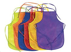 Assorted Child's Aprons 12 pcs Ideal for painting and other messy projects, these colorful nonwoven polyester kids' aprons come in purple, blue, yellow, green, orange and red. These child-size aprons