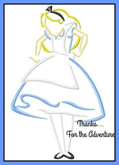 Alice in Wonderland- Tall Alice Sketch Digital Embroidery Machine Design File 4x4 5x7 6x10 by Thanks4TheAdventure on Etsy