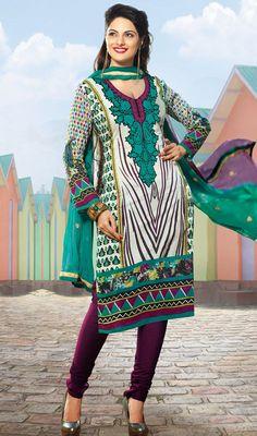 Off White and Purple Cotton Churidar Dress Price: Usa Dollar $71, British UK Pound £42, Euro52, Canada CA$77 , Indian Rs3834.