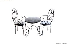 1/6 scale Miniature Table and 2 Chairs Black French by miniCHAIR, $59.00
