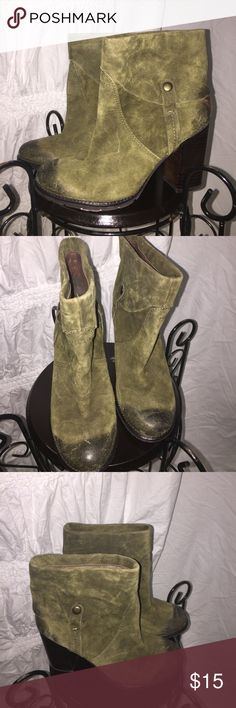 Vintage & distressed lookolive ankle boots slipon Vintage & distressed lookolive ankle boots slipon. Great for fall and vintage looks. Also, punk, country, & camouflage theme wear. Suede feel and heeled. Franco Sarto Shoes Heeled Boots