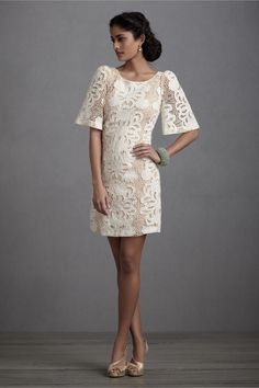 Rehearsal dinner with boots? (Persephone Shift in SHOP The Bride Reception Dresses at BHLDN) Bride Reception Dresses, Wedding Reception Outfit, Rehearsal Dinner Dresses, Rehearsal Dinners, Wedding Dresses, Reception Party, Gown Wedding, Lace Wedding, Dream Wedding
