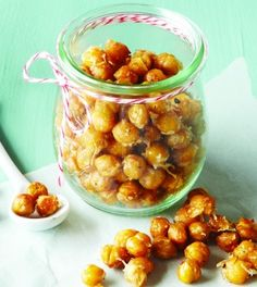 Garlic Parmesan Roasted Chickpeas-  In this recipe, I substitute the 1 TBSP olive oil with 4 organic EVOO sprays over chickpeas on baking pan.  I mix garlic powder (or some minced), pepper, and a dash of sea salt.  I DO NOT use the cheese and all organic items.