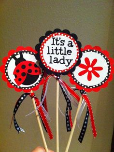 Lady bug centerpiece topper