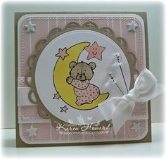 """""""Girl"""" Baby Bear On Moon by Feline Creative - Cards and Paper Crafts at Splitcoaststampers"""