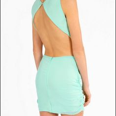 Sky blue backless mini dress Sky blue backless dress with side cut outs. Tank top sleeves with zipper and hook closer. From Tobi, never worn. Tobi Dresses Backless