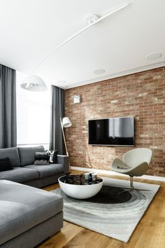 Top Floor Apartment in Gdynia by Dragon Art Brick Interior, Interior Design Kitchen, Home Living Room, Interior Design Living Room, Living Room Designs, Living Room Decor, Art Deco Kitchen, Kitchen Brick, Home Decor Furniture