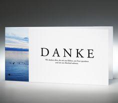 Feinstes Markenpapier von der Papierfabrik Gmund, hochweiß, 270 g/m², FSC-zertifiziert für Papiere aus nachhaltiger Forstwirtschaft.  Motiv See Impression, inkl. weißem Briefumschlag mit edlem Innenfutter.