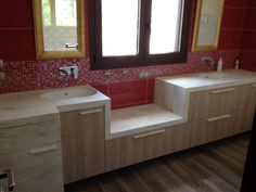 Bathroom l Private house l corian by dupont l Construction by Petsis Corian Dupont, Corner Bathtub, Construction, Bathroom, House, Building, Washroom, Corner Tub, Bath Room