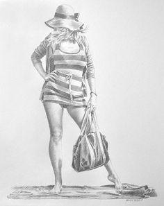Girl In Striped Beach Dress   Paul Kelley