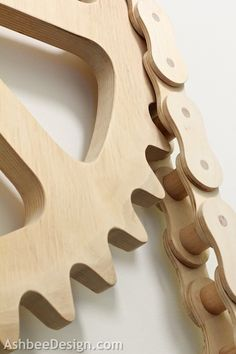 ❧ Wooden Bike Chain  from 1973 by Marji Roy of AshbeeDesign.com