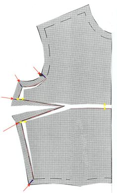 "FBA Illustrated - ""On most commercial sewing patterns this is bra size greater than a B cup. Each cup size greater than a B increases the fabric required by 3/8 to 1/2 inch in both length and width at the level of the bust (per cup size). Increasing for a full bust will prevent the strain and pulling up at the bodice front usually seen in ready to wear."""