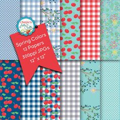 Cherries and Gingham Checks | Digital Backgrounds | Surface Patterns | Repeating Patterns Digital Paper | Digital Scrapbooking Papers | Art
