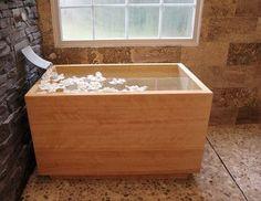 japanese soaker tub | wooden bathtub | small tub | small bathroom solutions