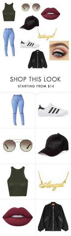 """""""Untitled #13"""" by jess-sanchez ❤ liked on Polyvore featuring adidas Originals, Prada, River Island, Topshop, Lime Crime and Alexander Wang"""