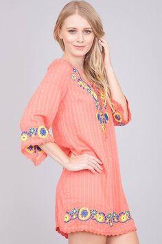 *STILL A FEW LEFT!*****  Floral Embroidered Tunic Dress – Pretty Darn Peachy
