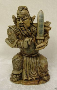 Vintage Chinese Soapstone Sculpture HandCarved Warrior Sword Wealth Riches 14inH