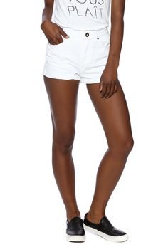 """High waisted denim shorts with a rolled and tacked hem. 2"""" inseam.   Phoebe High Waisted Shorts by O'Neill. Clothing - Shorts - Denim Clothing - Shorts - Mini Dallas, Texas Marina, San Francisco Austin, Texas"""